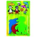 blíster 3 placas pegboards (delfín, pingüino y circulo pequeño) para hama beads midi