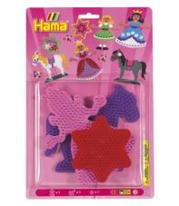 blíster 3 placas pegboards (princesa, caballo y estrella pequeña) para hama beads midi