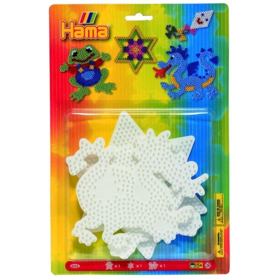 blíster 3 placas pegboards (rana, estrella y dragón) para hama beads midi