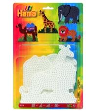 blíster 4 placas pegboards (elefante, jirafa, león y camello) para hama beads midi