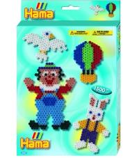 pack de inicio (1500 piezas y 1 placa pegboard) hama beads midi