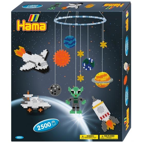 pack colgador espacio (2500 piezas, colgador, cuerda y 2 placas pegboards) hama beads midi