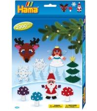 pack de inicio navidad (2000 piezas y placa pegboard) hama beads midi