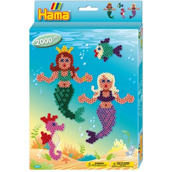pack de inicio sirenas (2000 piezas y placa pegboard) hama beads midi