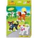 pack de inicio perros y gatos (2000 piezas, 6 soportes de pie y 2 placas pegboards) hama beads midi