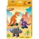 pack de inicio dinosaurios (2000 piezas, 6 soportes de pie y placa pegboard) hama beads midi