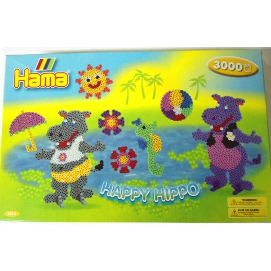 pack de inicio happy hippo (3000 piezas, 4 soportes y 2 placas pegboards) hama beads midi