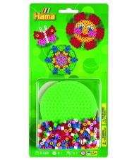 blister círculo pequeño verde (450 piezas y 1 placa pegboard) hama beads midi