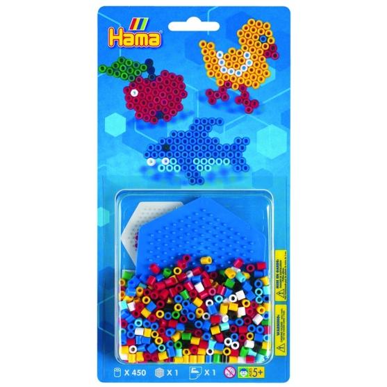 blister hexágono pequeño (450 piezas y 1 placa pegboard) hama beads midi