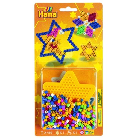 blister estrella pequeña (450 piezas y 1 placa pegboard) hama beads midi