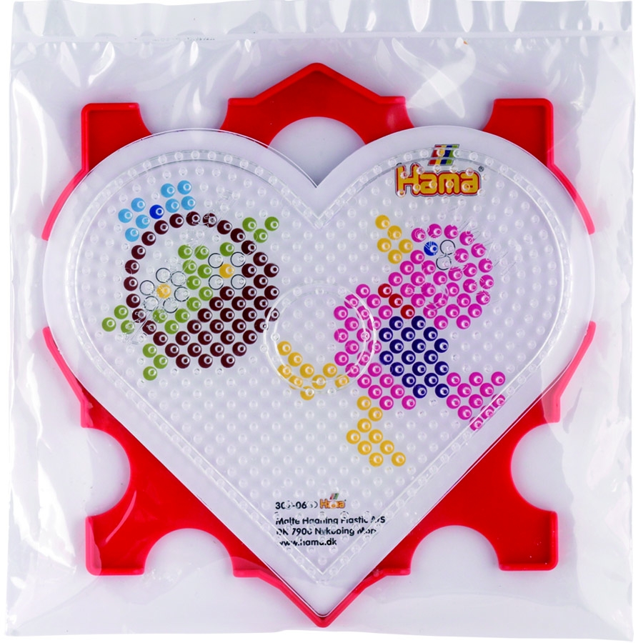 marco, placa pegboard corazón y diseños hama beads midi.