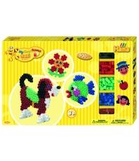 pack de inicio perro y circulo (900 piezas, 3 soportes y 2 placas pegboards) hama beads maxi