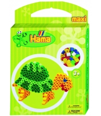 pack de inicio tortuga (350 piezas, 2 soportes y placa pegboard) hama beads maxi