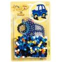 pack blister coche (250 piezas, 2 soportes y placa pegboard) hama beads maxi