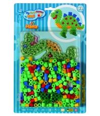 pack blister dinosaurio (250 piezas, 2 soportes y placa pegboard) hama beads maxi