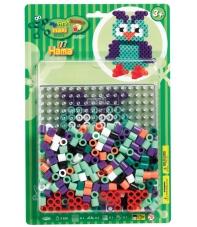 pack blister búho (250 piezas, 2 soportes y placa pegboard) hama beads maxi