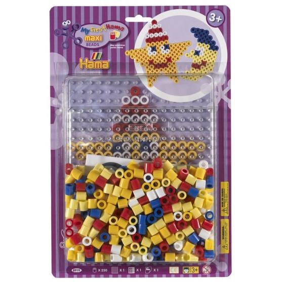 pack blister estrella y luna (250 piezas y placa pegboard) hama beads maxi