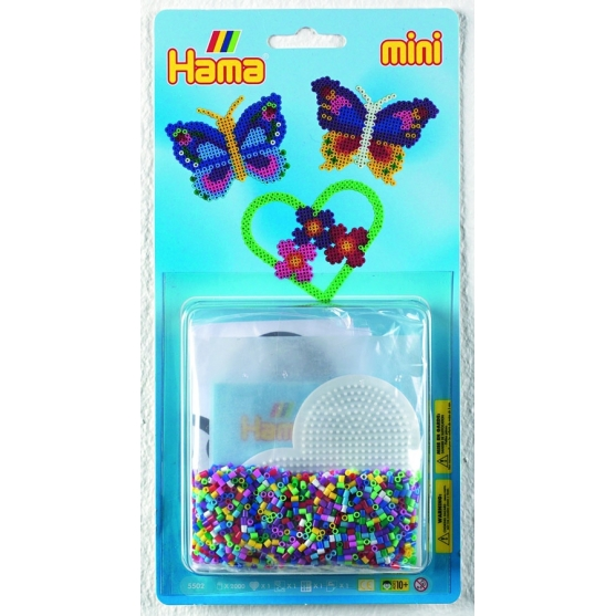 blister mariposa (2000 piezas y 1 placa pegboard) hama beads mini