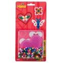 blister corazón pequeño rosa pastel (450 piezas y 1 placa pegboard) hama beads midi