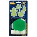 blister brilla en la oscuridad (300 piezas y 1 placa pegboard) hama beads midi