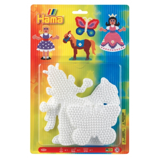 blister 3 placas pegboards (princesa, caballo y mariposa) para hama beads midi