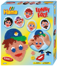 pack de inicio caras divertidas (2500 piezas, adhesivo reutilizable  y 1 placa pegboard) hama beads midi