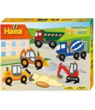 pack de inicio vehículos de construcción (4000 piezas, 11 soportes  y 1 placa pegboard) hama beads midi