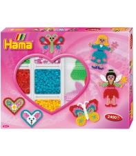 pack de inicio corazón (2400 piezas, organizador y 3 placas pegboards) hama beads midi