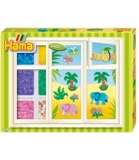 pack de inicio jungla (2400 piezas, organizador y 3 placas pegboards) hama beads midi