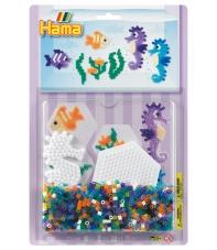 blister hexágono y caballito de mar (1100 piezas y 2 placas pegboards) hama beads midi