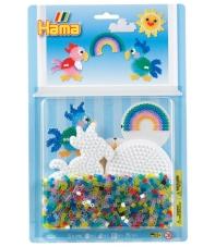 blister círculo y loro (1100 piezas y 2 placas pegboards) hama beads midi