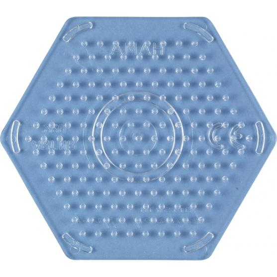 placa pegboard hexagonal transparente 7 cm para hama beads midi