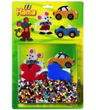 blister ratón y coche (1100 piezas y 2 placas pegboards) hama beads midi