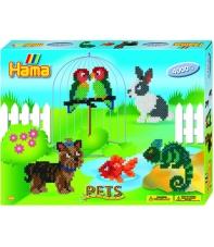 pack de inicio mascotas (4000 piezas y 2 placas pegboards) hama beads midi