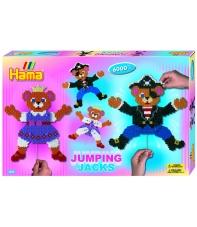 pack de inicio jumping jacks (6000 piezas y 2 placas pegboards) hama beads midi