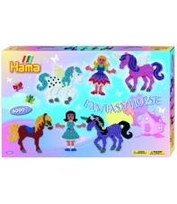 pack de inicio unicornio (6000 piezas y 2 placas pegboards) hama beads midi