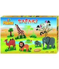 pack de inicio safari (5000 piezas,14 soportes y 4 placas pegboards) hama beads midi