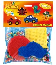 pack de inicio coche (3000 piezas y 4 placas pegboards) hama beads midi