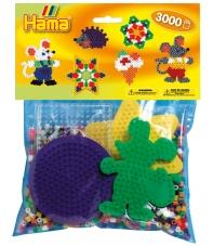 pack de inicio ratón (3000 piezas y 4 placas pegboards) hama beads midi