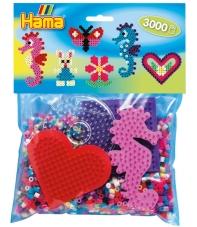 pack de inicio caballito de mar (3000 piezas y 4 placas pegboards) hama beads midi