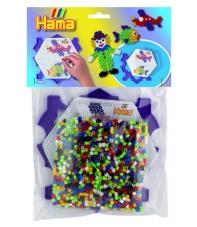 pack marco múltiple hexágono y 1000 piezas hama beads midi