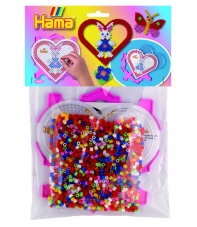 pack marco múltiple corazón y 1000 piezas hama beads midi