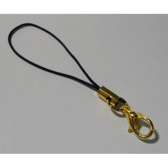 cuelgamóvil negro con cierre mosquetón dorado hama beads