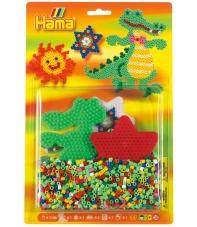 blister cocodrilo y estrella (1100 piezas y 2 placas pegboards) hama beads midi