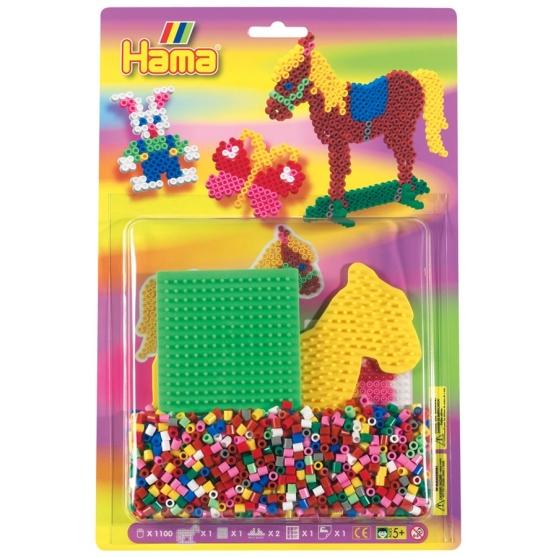 blister cuadrada y caballo (1100 piezas y 2 placas pegboards) hama beads midi