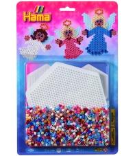 blister ángeles (1100 piezas y 1 placa pegboard) hama beads midi
