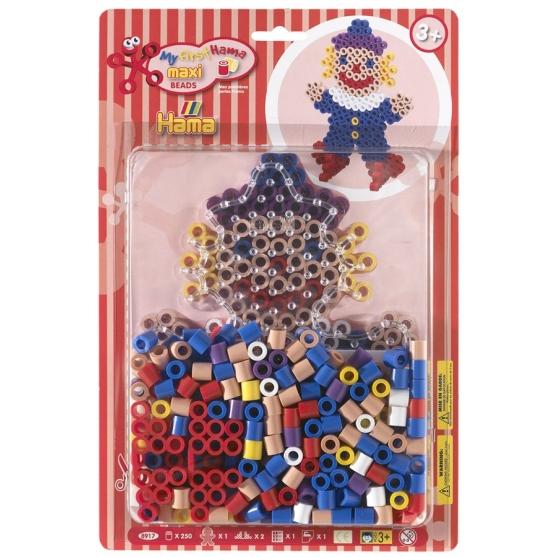 pack blister payaso (250 piezas, 2 soportes y placa pegboard) hama beads maxi