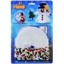 blister muñeco de nieve 3d (900 piezas, 1 placa pegboard y cordón) hama beads midi