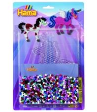 blister unicornio (2000 piezas y 1 placa pegboard) hama beads midi