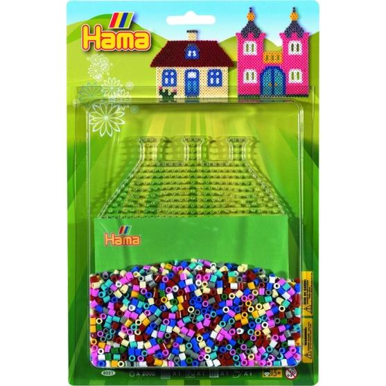 blister casa (2000 piezas y 1 placa pegboard) hama beads midi